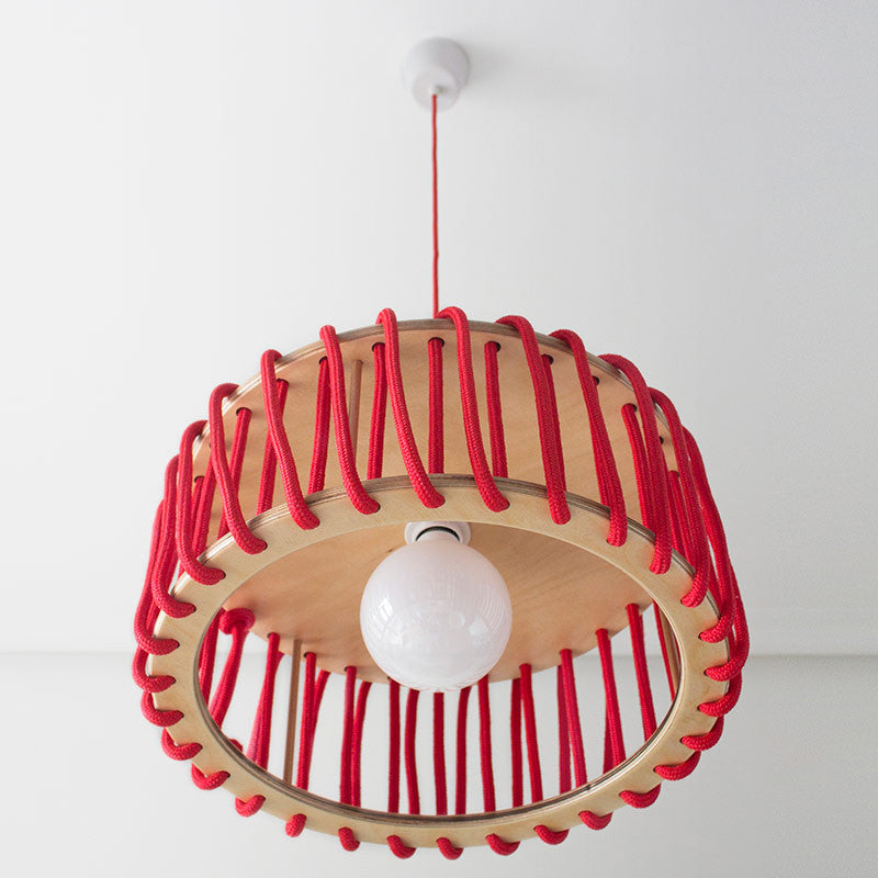 Macaron Oak Lamp, Red-Lights- Space & Shape