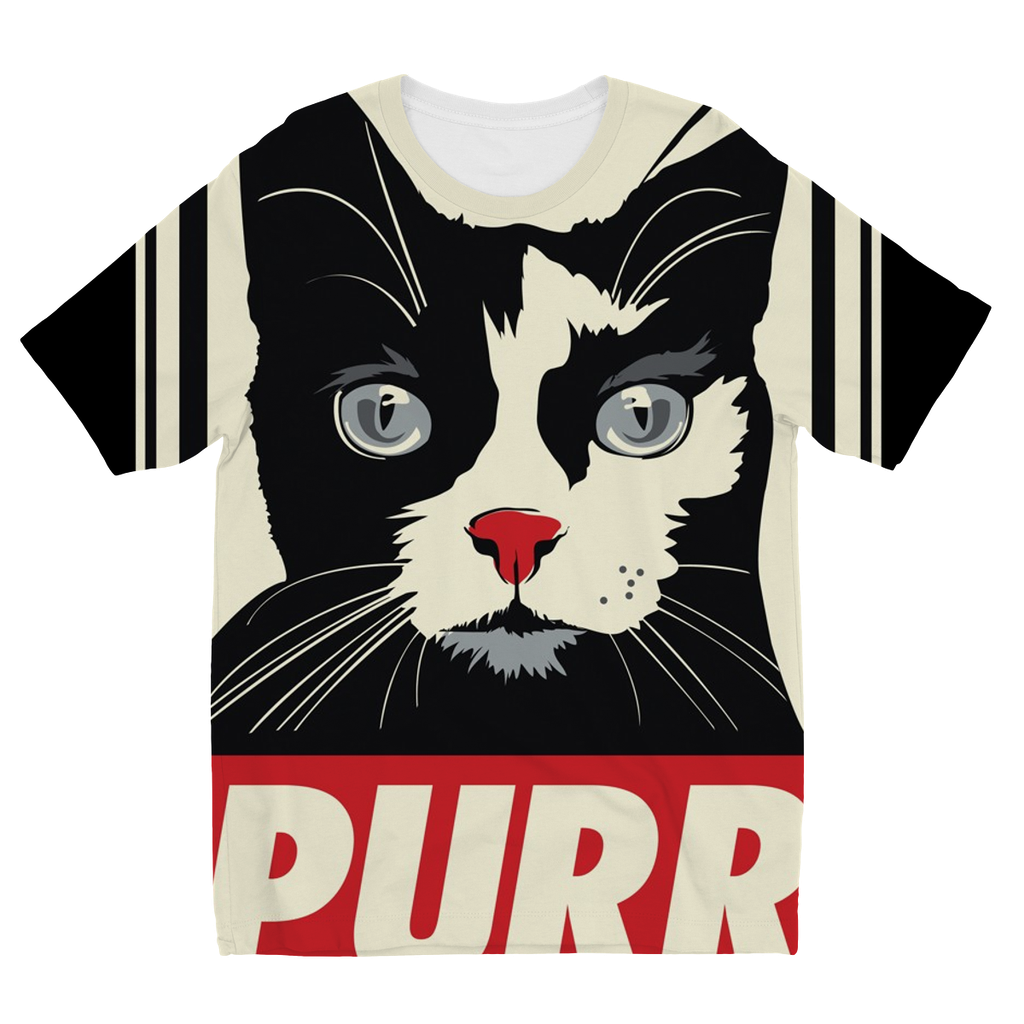 'Purr' Cat Kids Sublimation T-Shirt (5 Sizes)-Apparel- Space & Shape