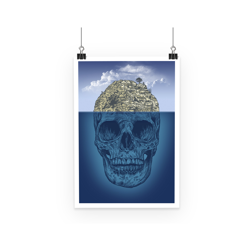 Island Skull Poster (3 Sizes)-Wall Decor- Space & Shape