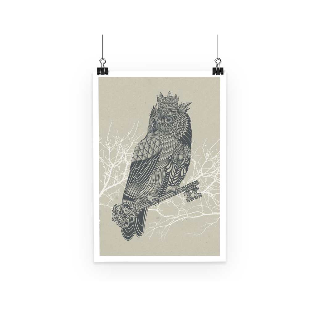 King Owl on Key Poster (3 Sizes)-Wall Decor- Space & Shape