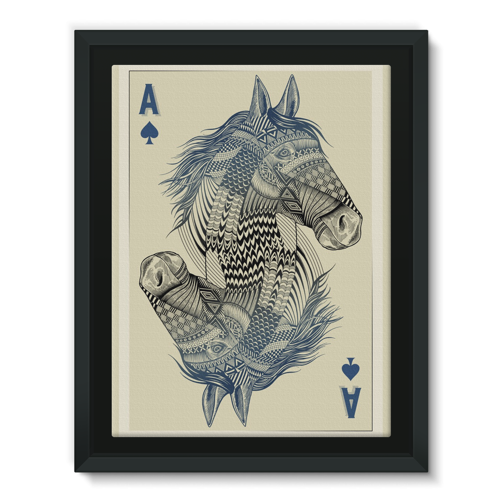 Horse Playing Card Framed Canvas (4 Sizes)-Wall Decor- Space & Shape