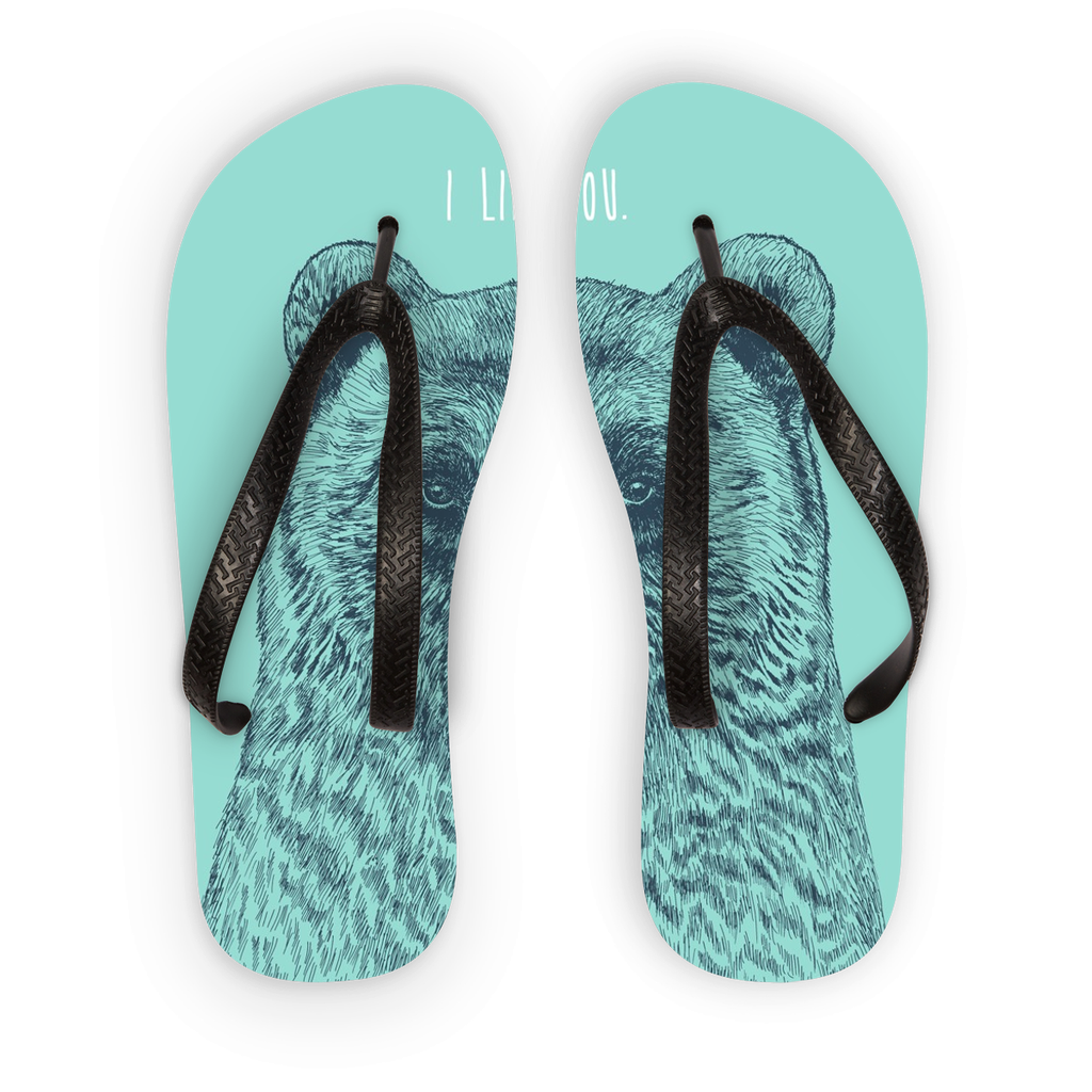 'I Like You' Bear Flip Flops (3 Sizes)-Accessories- Space & Shape