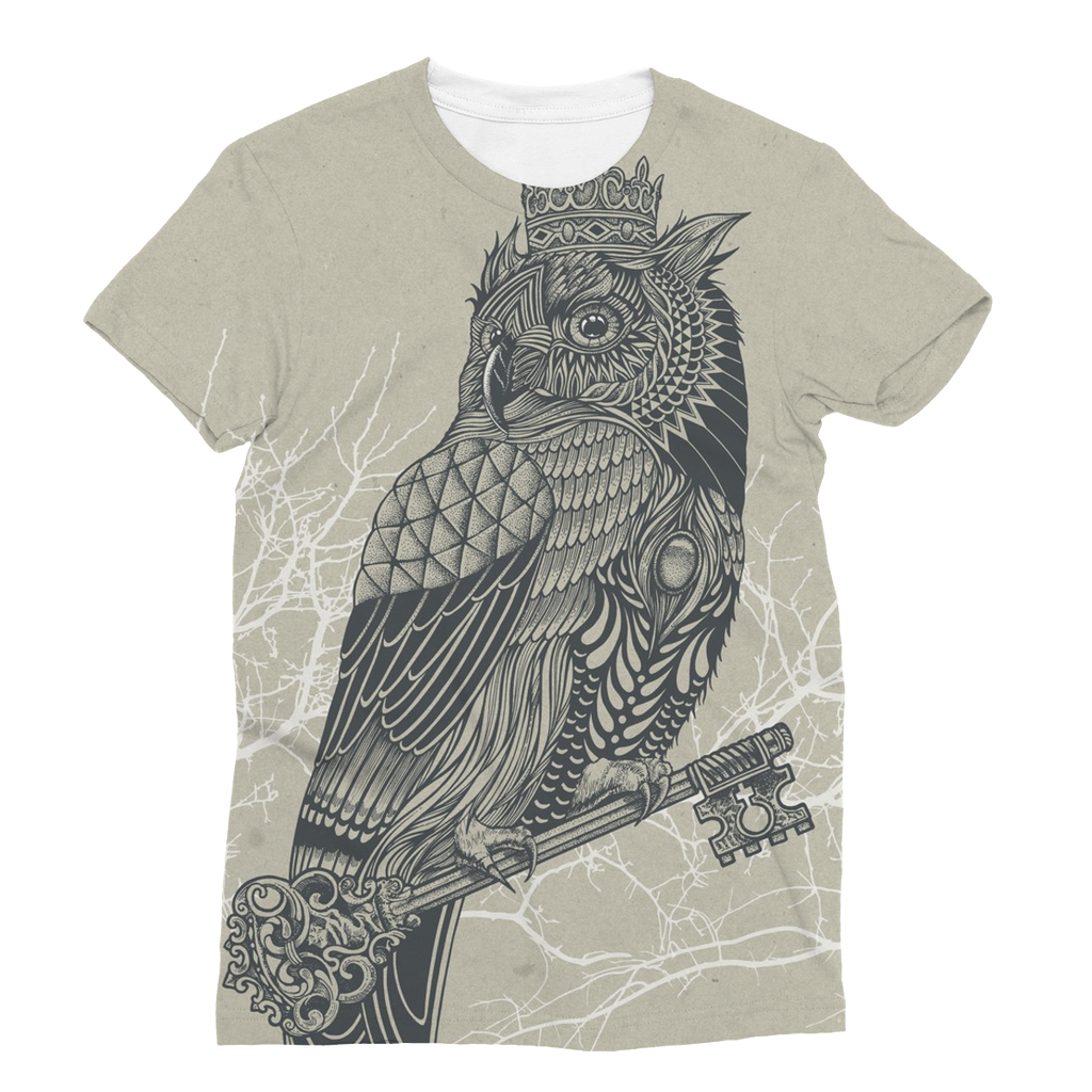 King Owl on Key Unisex Sublimation T-Shirt (5 Sizes)-Apparel- Space & Shape