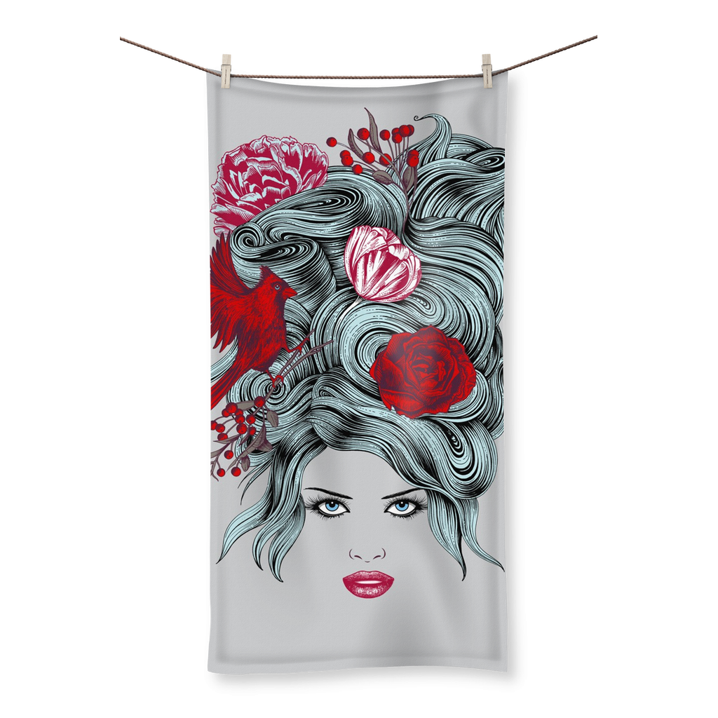 Girl with Roses Beach Towel (3 Sizes)