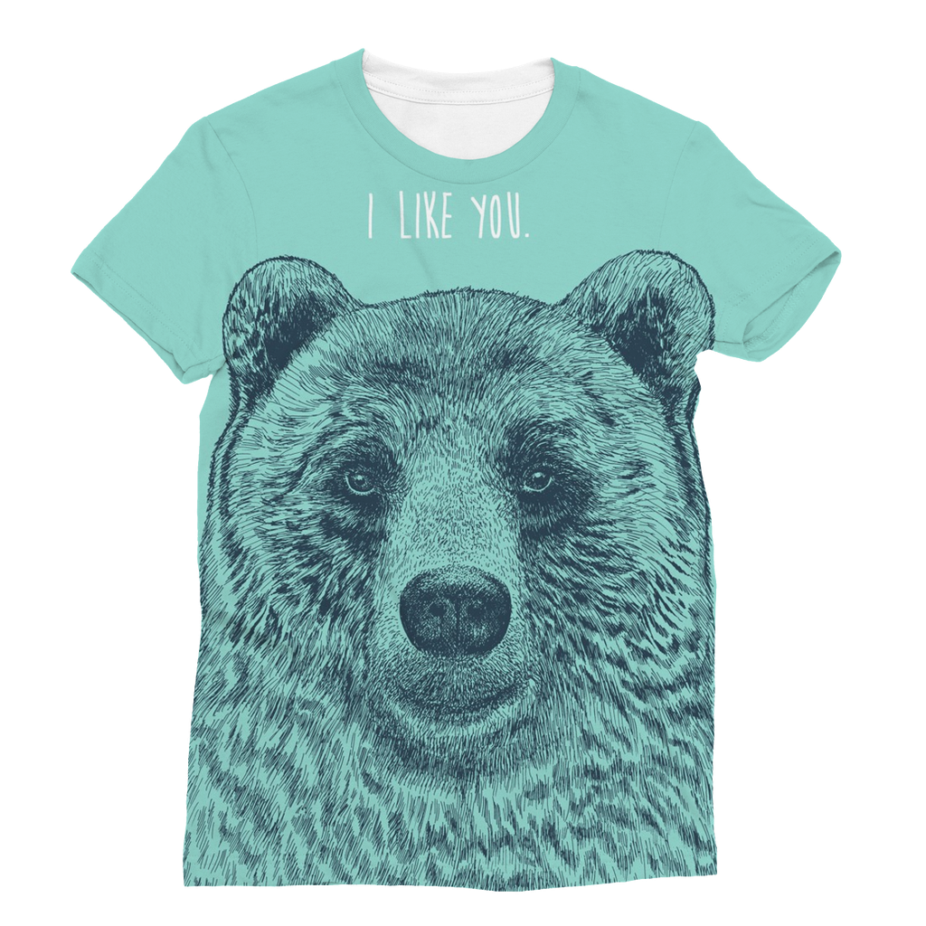 'I Like You' Bear Unisex Sublimation T-Shirt (5 Sizes)