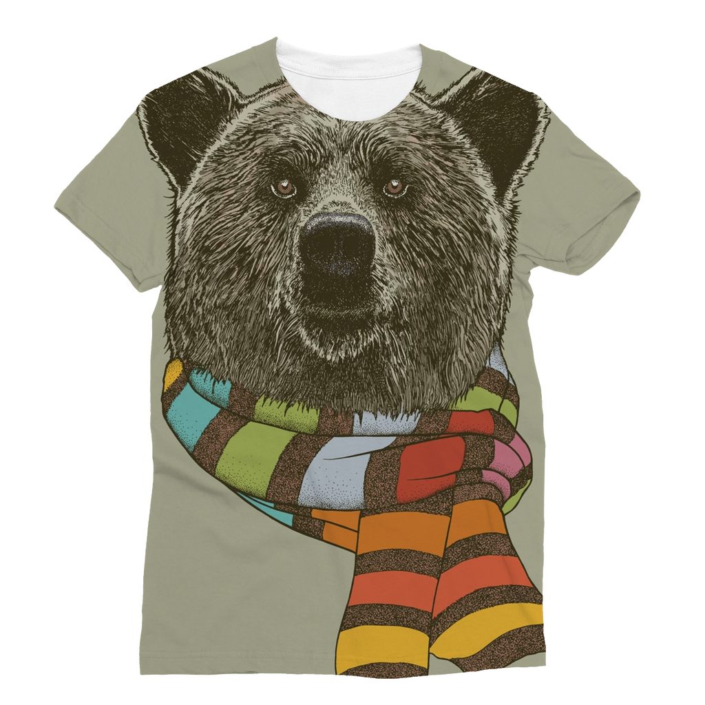 Bear with Scarf Unisex Sublimation T-Shirt (5 Sizes)-Apparel- Space & Shape