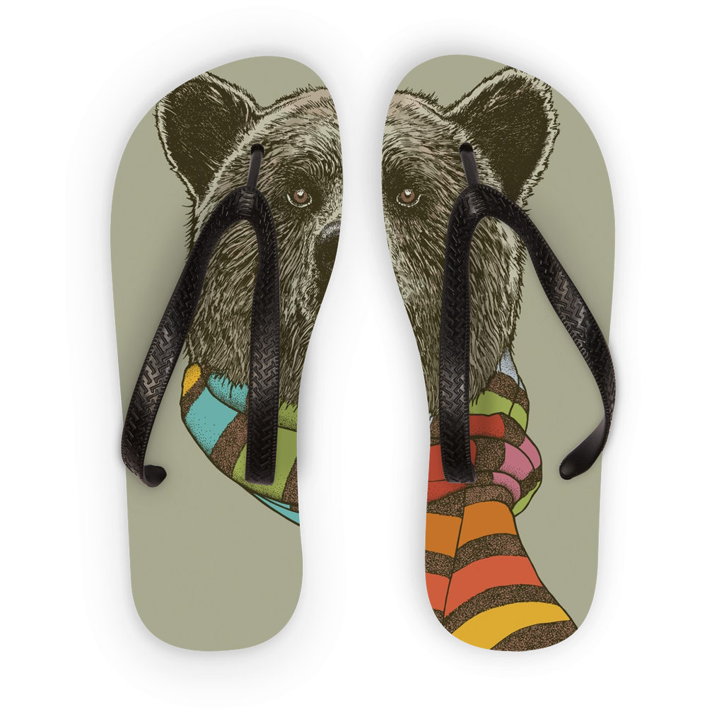 Bear with Scarf Flip Flops (3 Sizes)-Accessories- Space & Shape