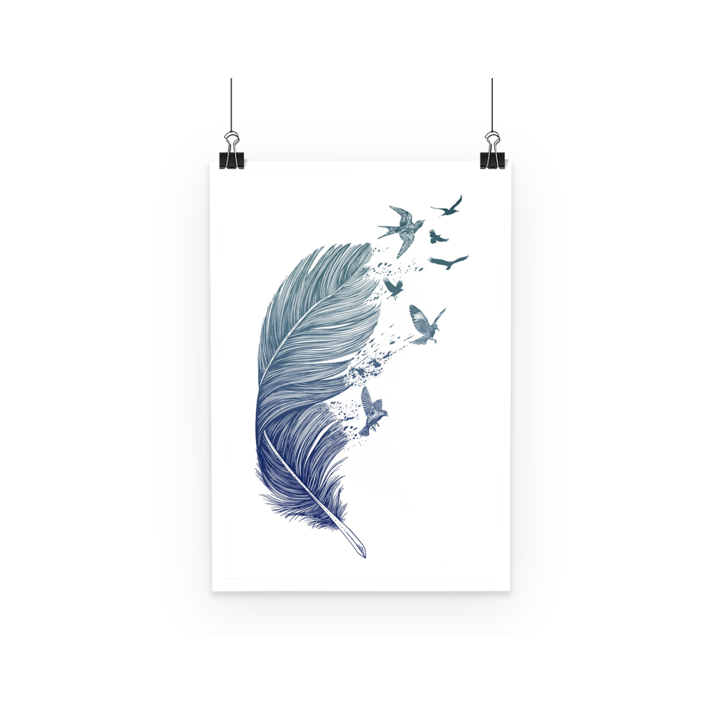 Birds & Feather Poster (3 Sizes)-Wall Decor- Space & Shape
