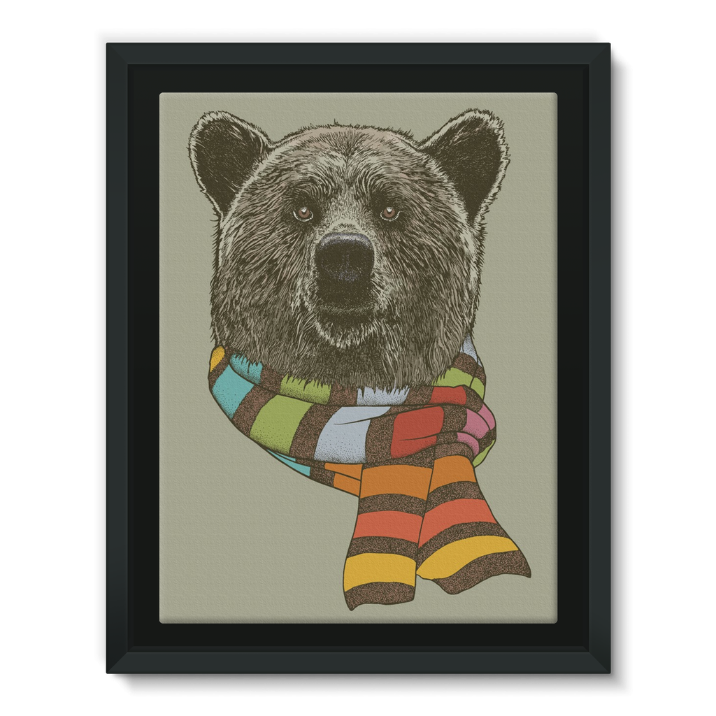 Bear with Scarf Framed Canvas (4 Sizes)-Wall Decor- Space & Shape