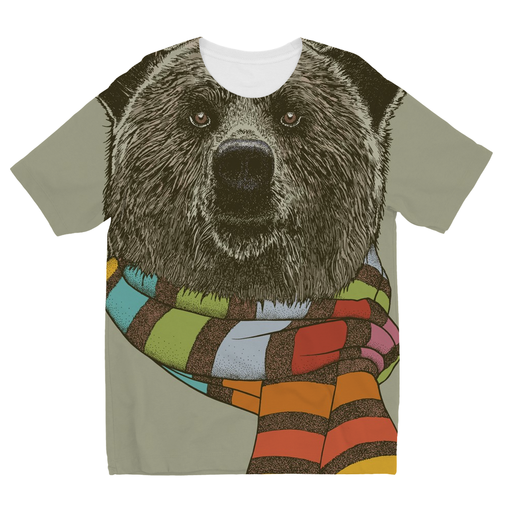 Bear with Scarf Kids Sublimation T-Shirt (5 Sizes)-Apparel- Space & Shape