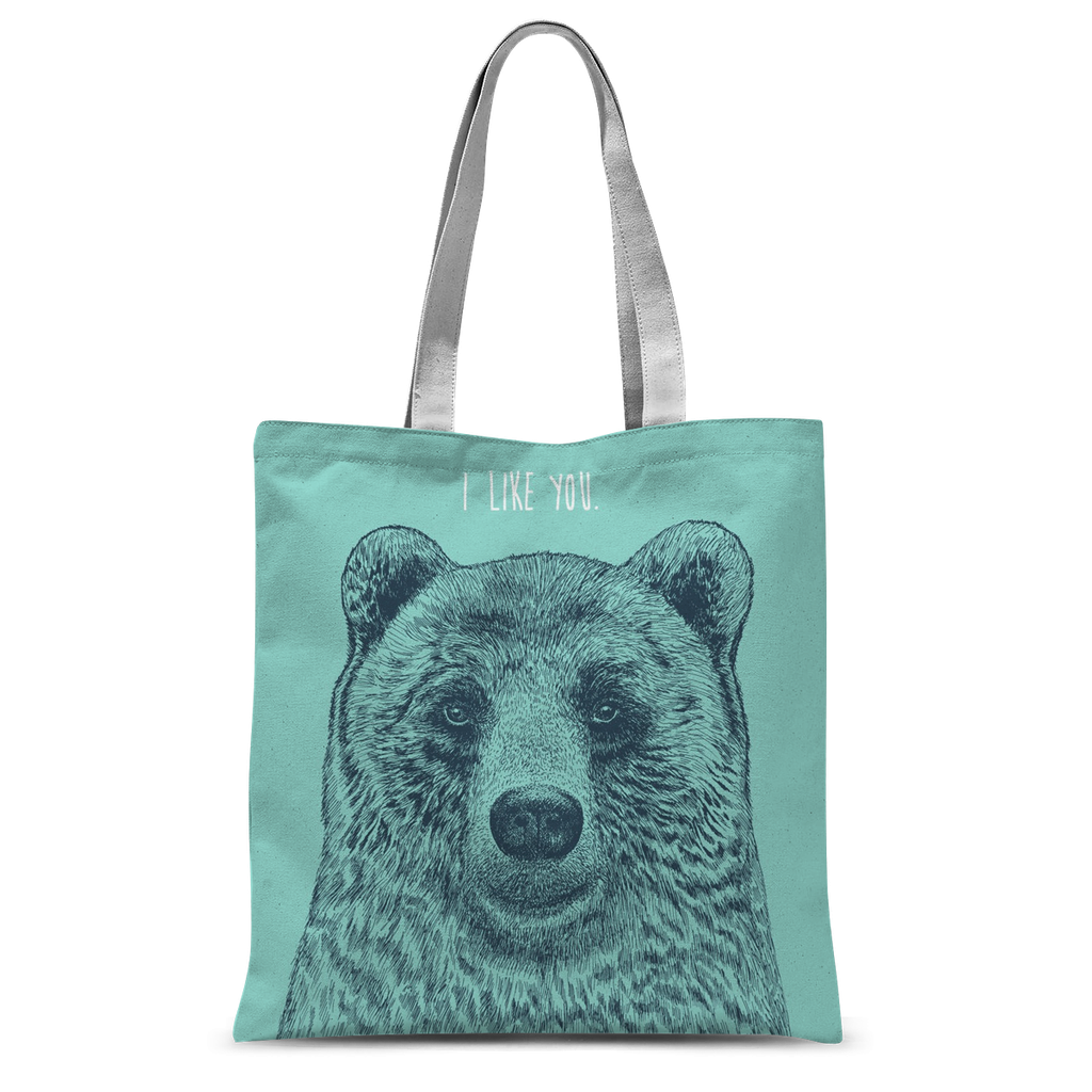 'I Like You' Bear Tote Bag-Accessories- Space & Shape