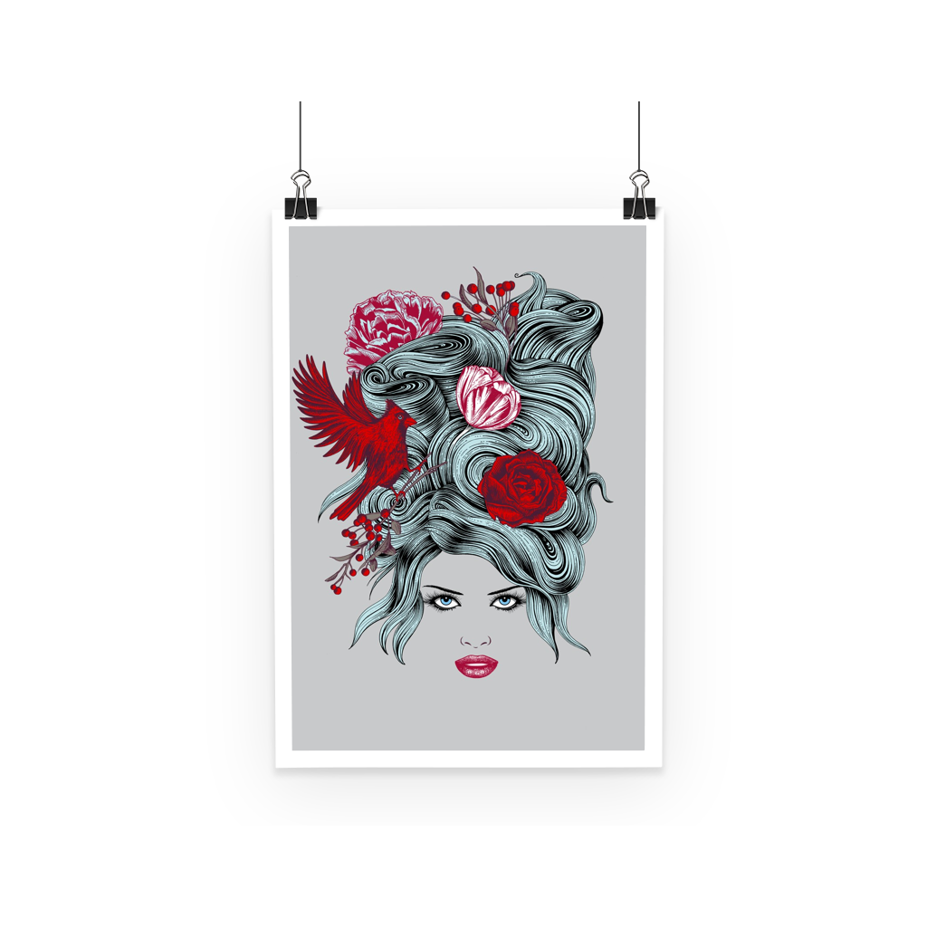 Girl with Roses Poster (3 Sizes)