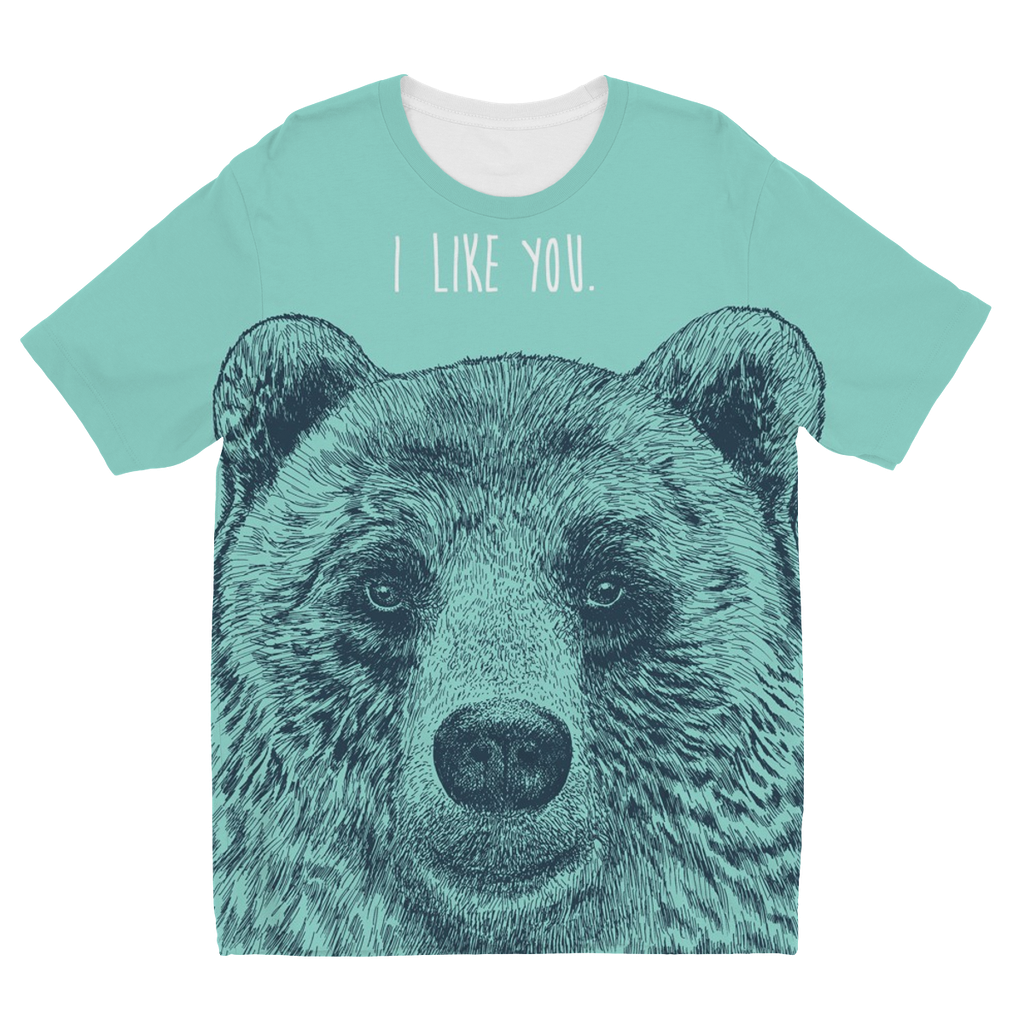 'I Like You' Bear Kids Sublimation T-Shirt (5 Sizes)