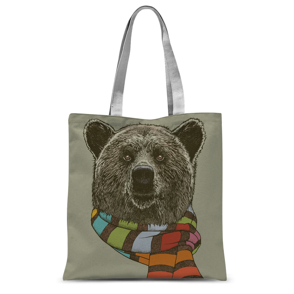 Bear with Scarf Tote Bag-Accessories- Space & Shape