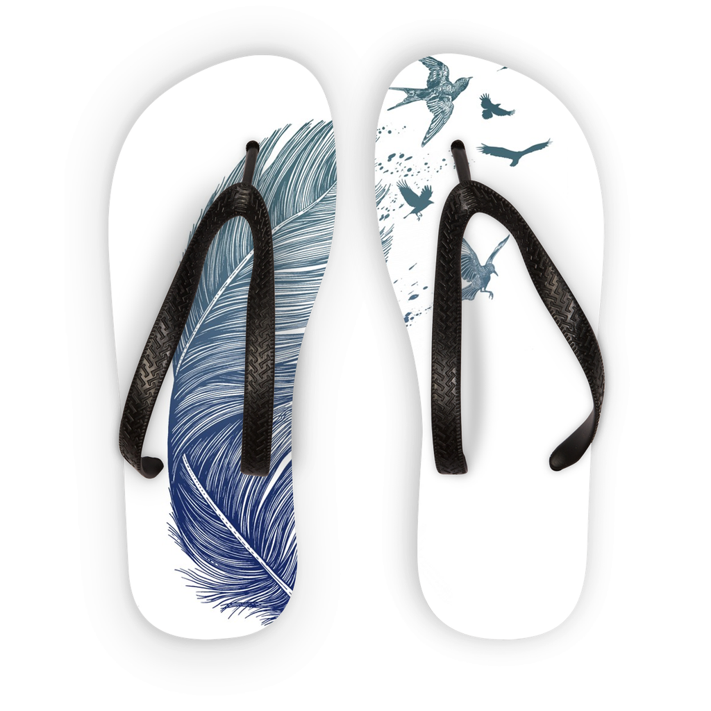 Birds & Feather Flip Flops (3 Sizes)