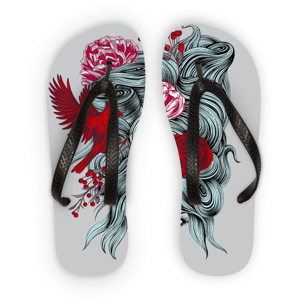 Girl with Roses Flip Flops (3 Sizes)