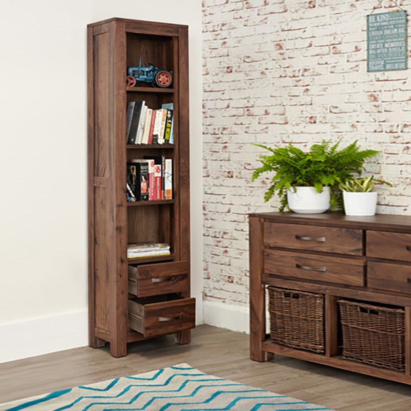Mayan Solid Walnut Narrow Bookcase-Bookcase- Space & Shape