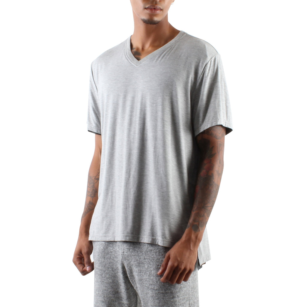 GREY AND CHARCOAL DOUBLE LAYER V-NECK TEE - Standard Issue NYC