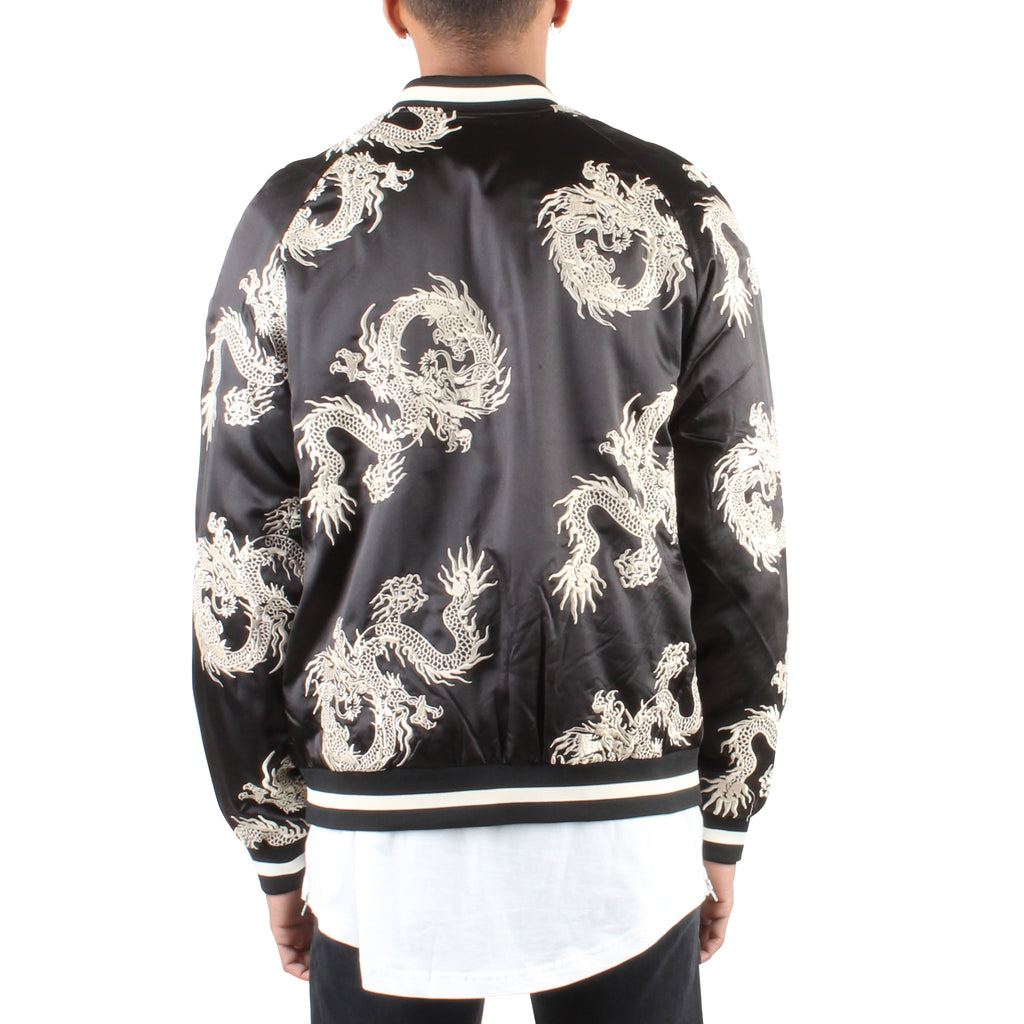BLACK/GOLD ALL OVER DRAGON SOUVENIR JACKET