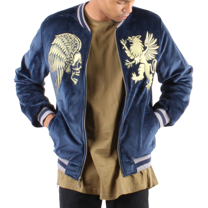 NAVY VELOUR SOUVENIR JACKET - Standard Issue NYC