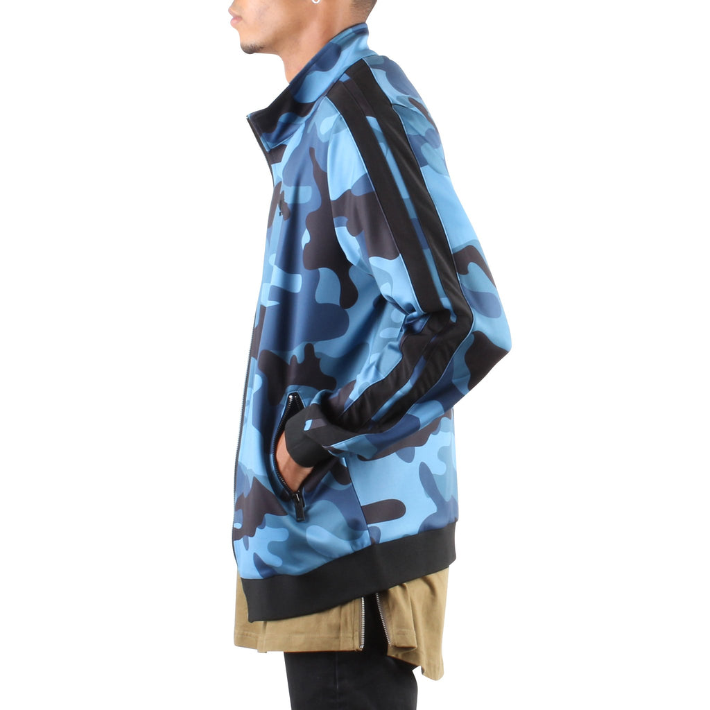 BLUE CAMO ZIP FRONT TRACK JACKET - Standard Issue NYC