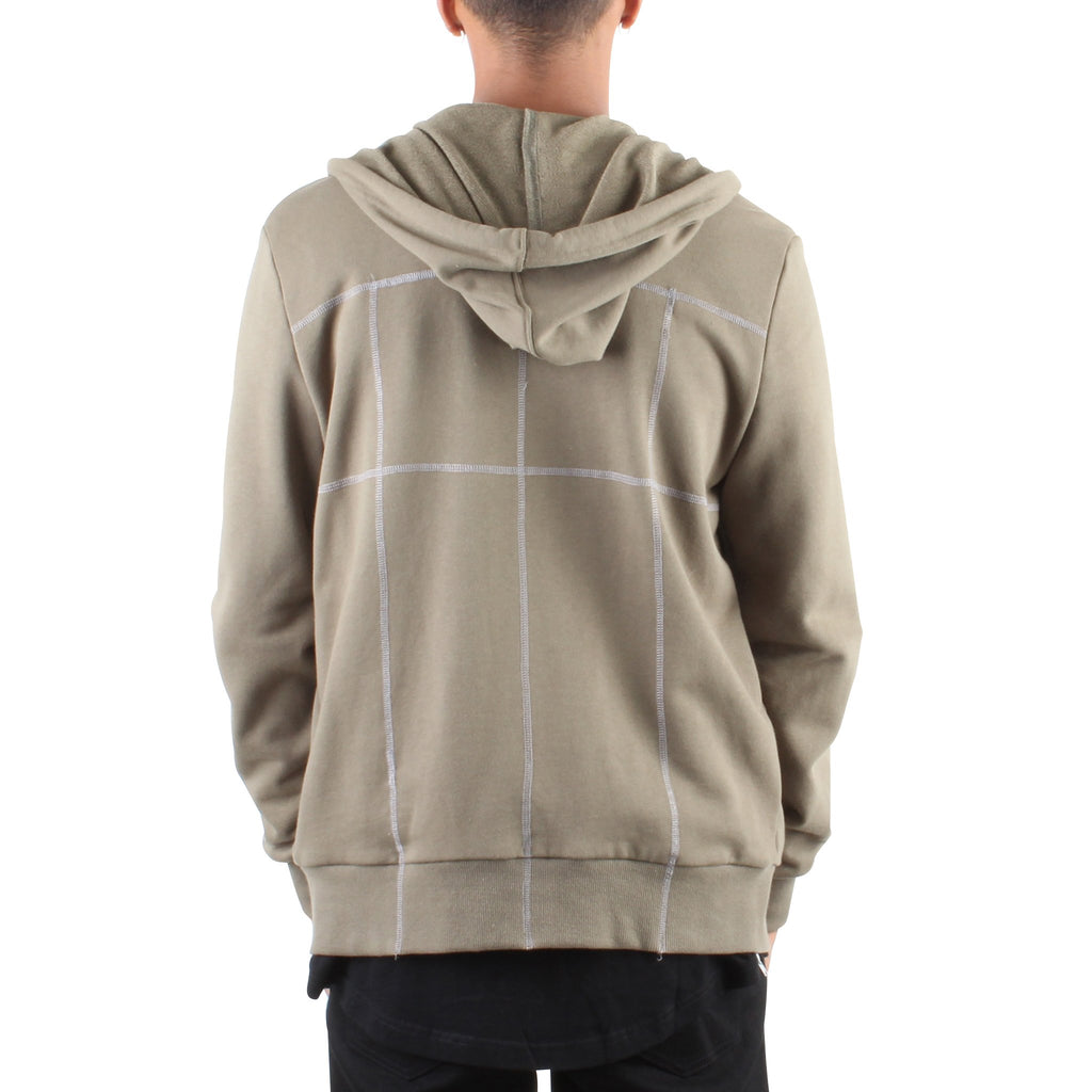 MILITARY GREEN HOODIE WITH CONTRAST STITCHING - Standard Issue NYC