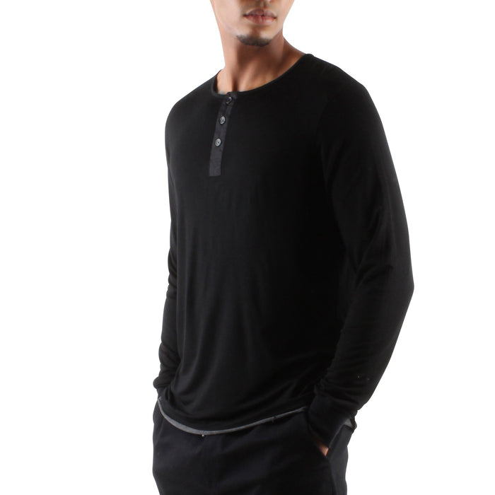 BLACK MODAL HENLEY - Standard Issue NYC
