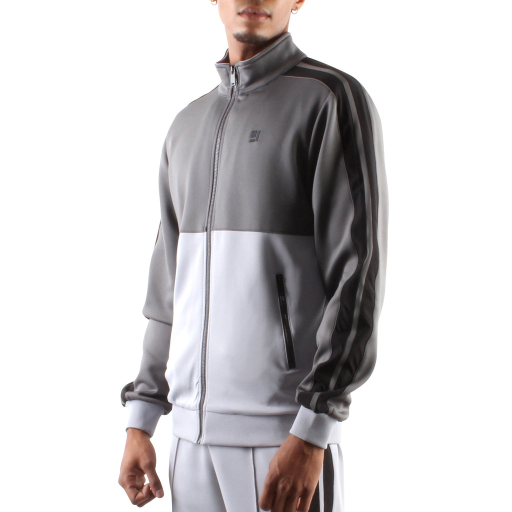 CHARCOAL AND GREY ZIP FRONT TRACK JACKET - Standard Issue NYC