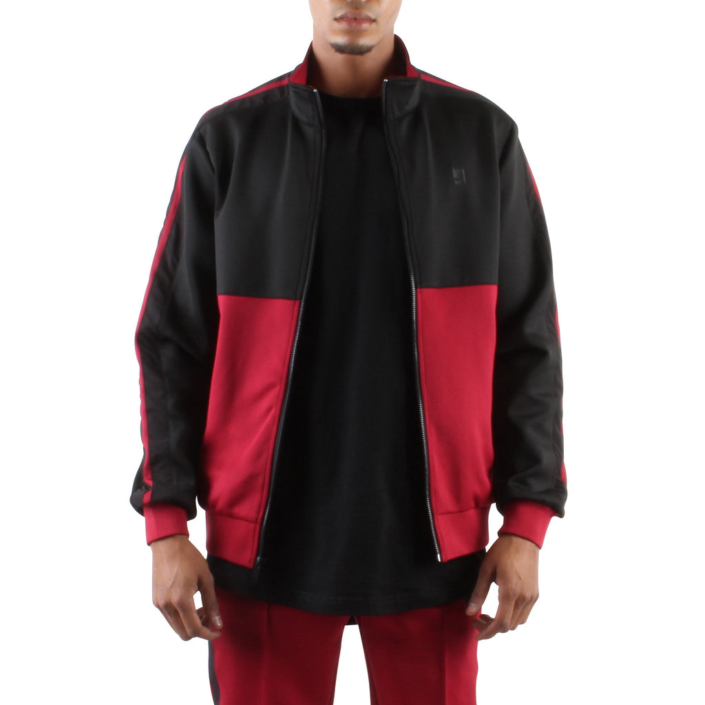 BLACK AND MAROON ZIP FRONT TRACK JACKET - Standard Issue NYC