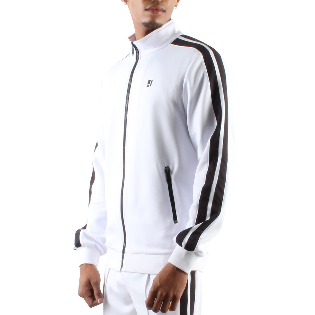 WHITE ZIP FRONT TRACK JACKET - Standard Issue NYC