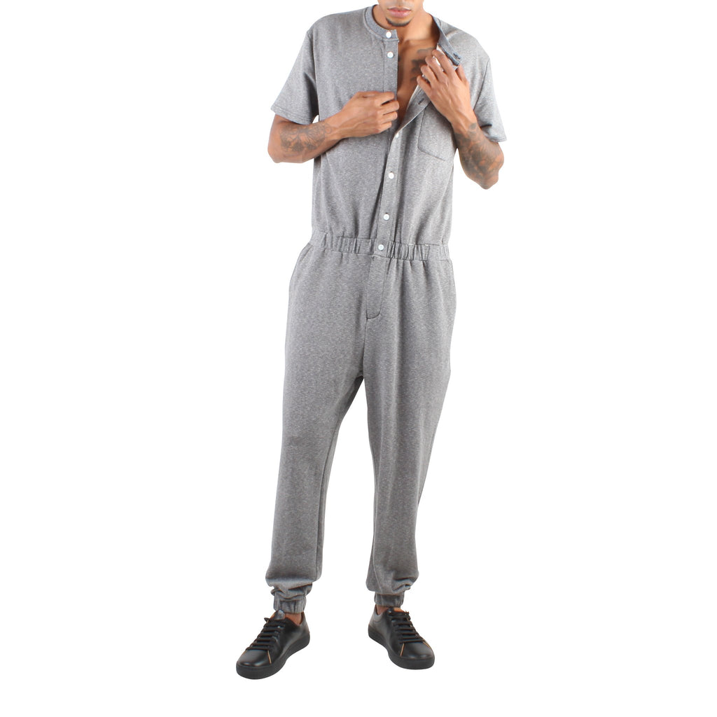 SHORT SLEEVE GREY TERRY JUMPSUIT - Standard Issue NYC