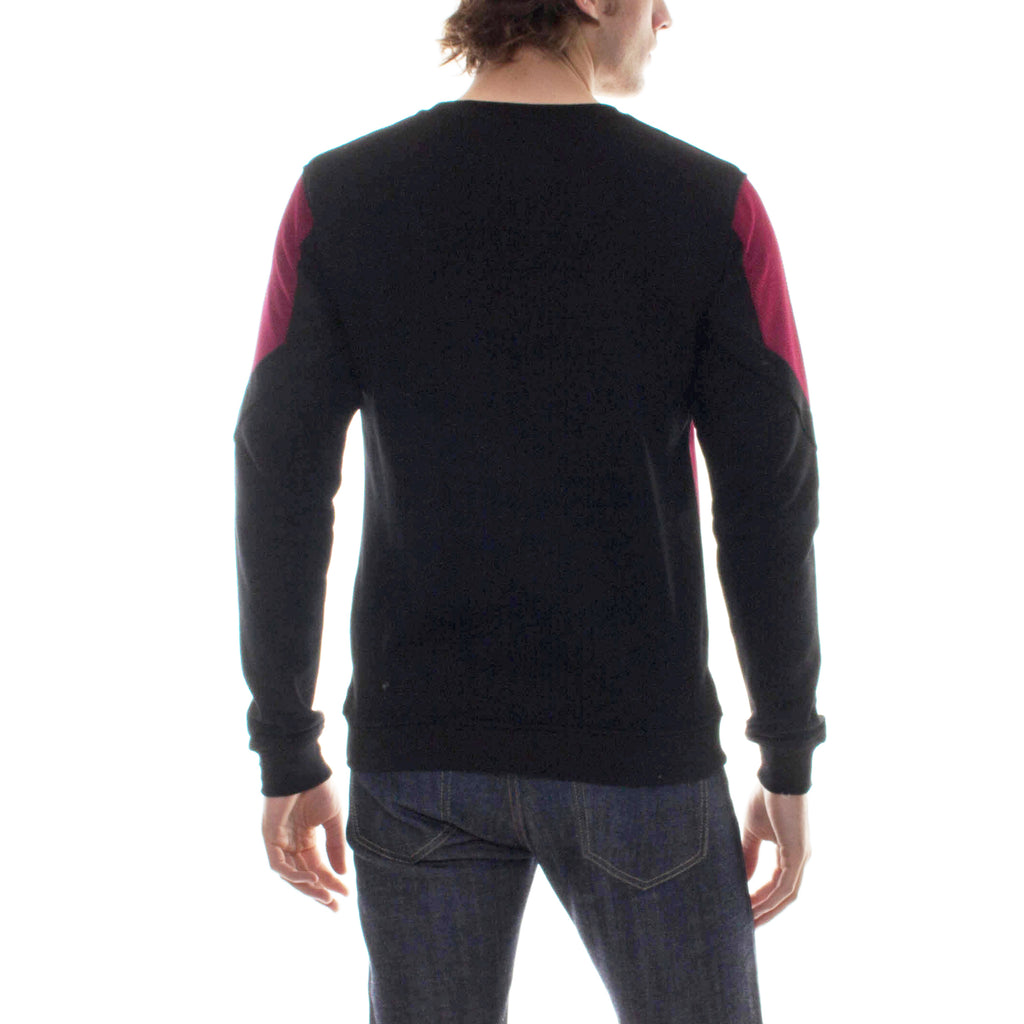 GEOMETRIC COLOR BLOCK CREWNECK - BLACK/MAROON - Standard Issue NYC