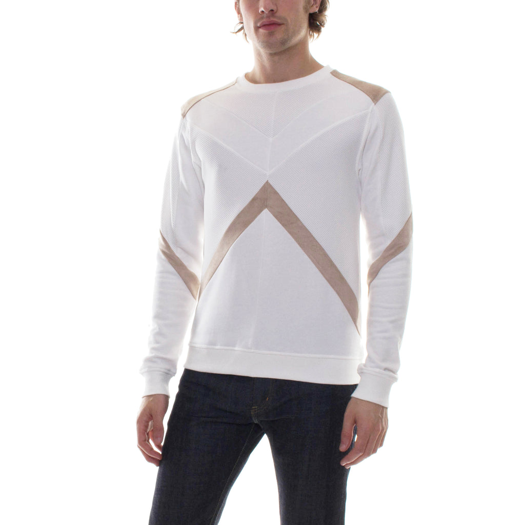 GEOMETRIC COLOR BLOCK CREWNECK - KHAKI/WHITE - Standard Issue NYC