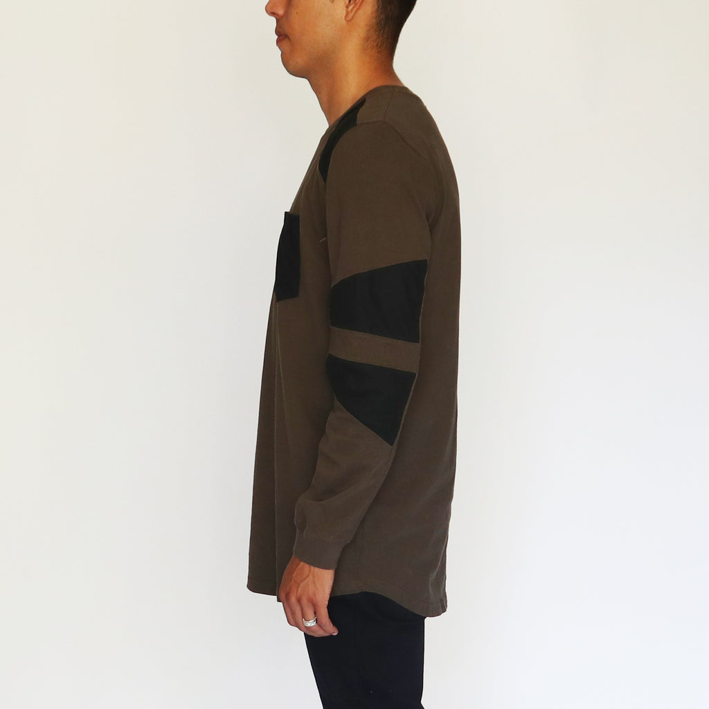 FAUX SUEDE DETAIL LONG-SLEEVE SHIRT - MILITARY GREEN