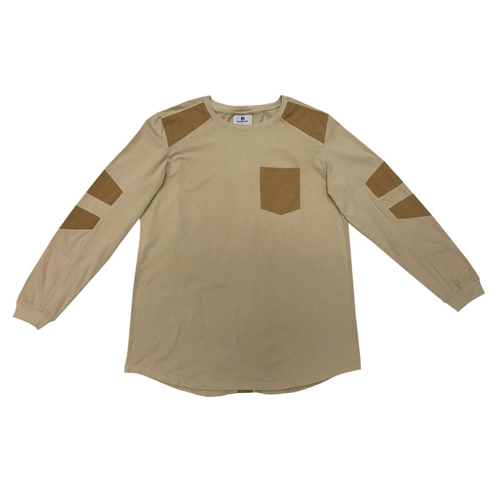 FAUX SUEDE DETAIL LONG SLEEVE SHIRT - KHAKI - Standard Issue NYC