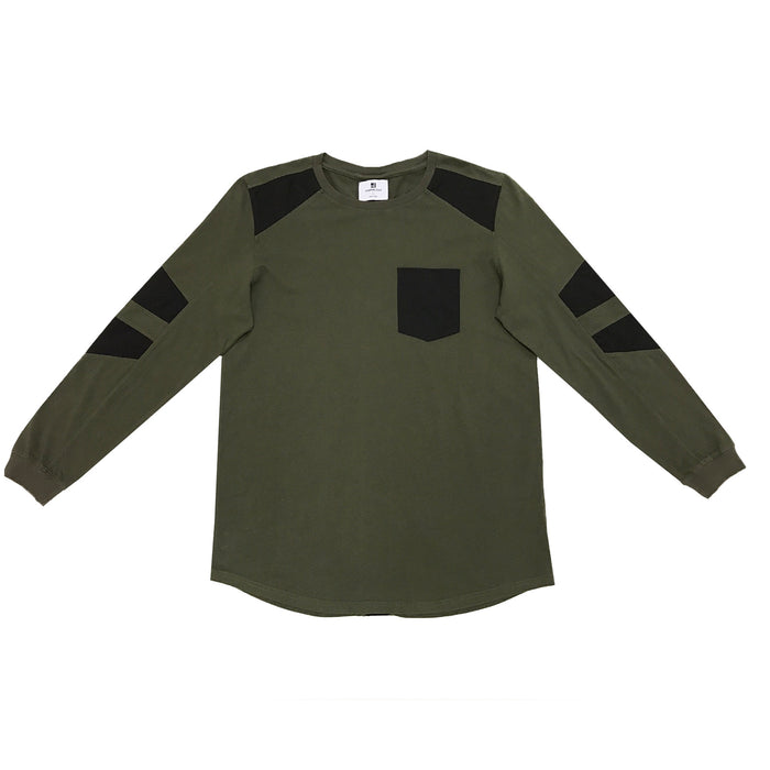 FAUX SUEDE DETAIL LONG SLEEVE SHIRT - MILITARY GREEN - Standard Issue NYC