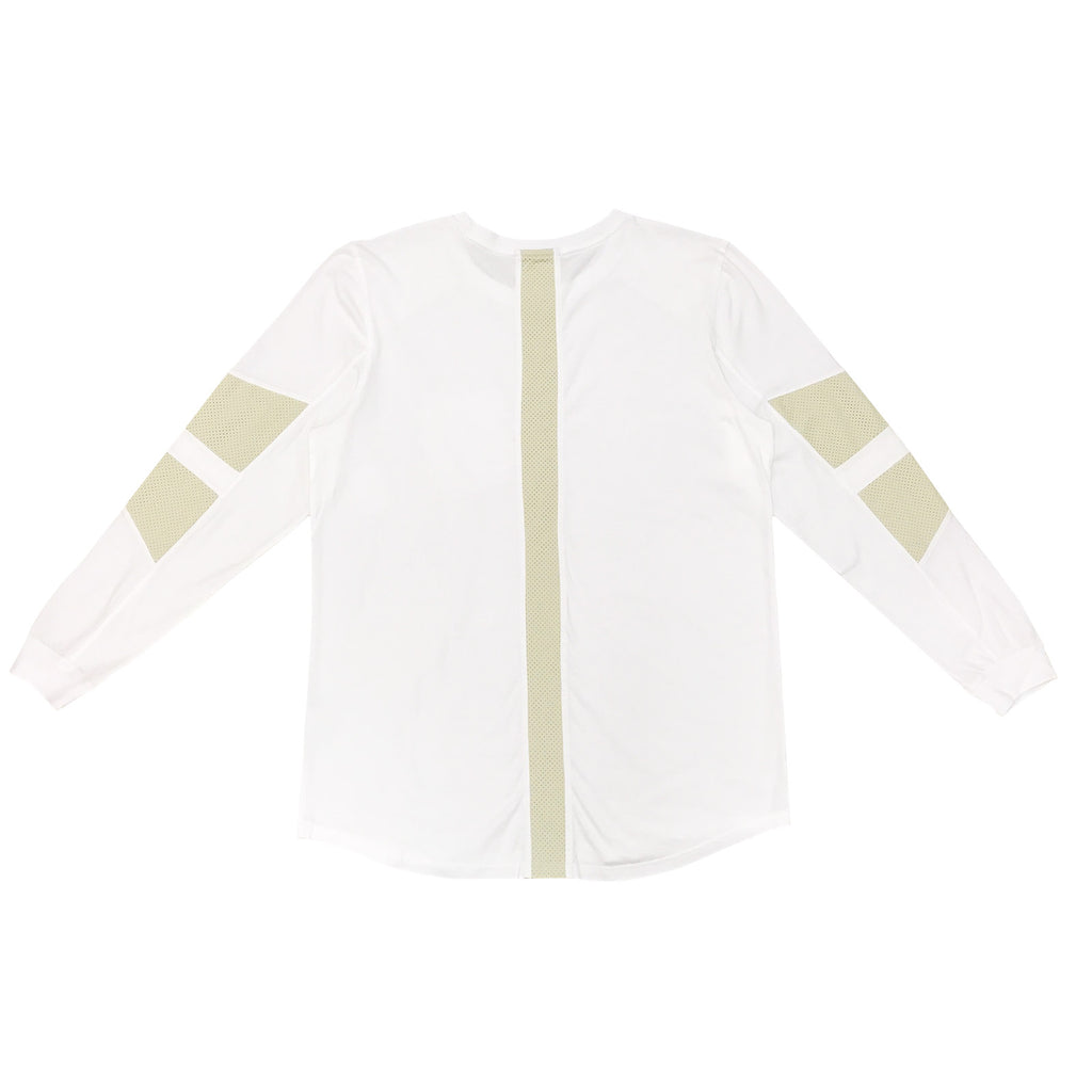 FAUX SUEDE DETAIL LONG SLEEVE SHIRT - WHITE - Standard Issue NYC