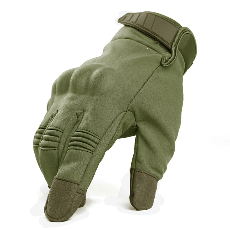 Motorcycle Gloves with Knuckle Armor - Green