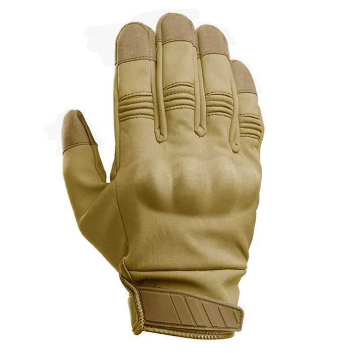 Motorcycle Gloves with Knuckle Armor - Tan