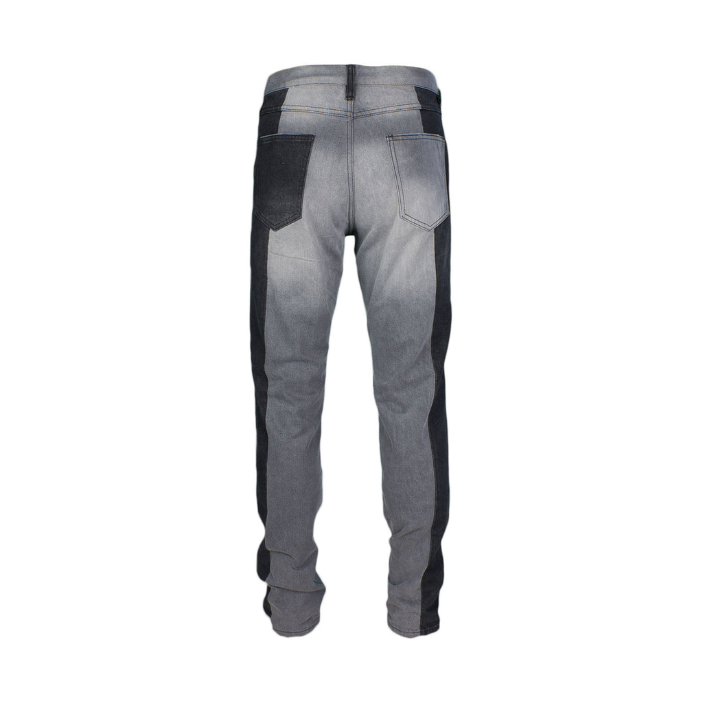 Two Tone Pieced Denim - Grey / Black