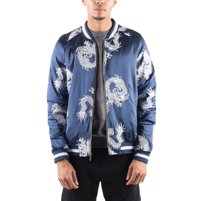NAVY/SILVER ALL OVER DRAGON SOUVENIR JACKET - Standard Issue NYC