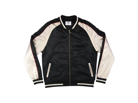 Solid Color Block Jacket - Black/Gold