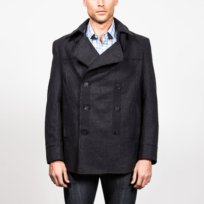 DOUBLE BREASTED WOOL PEACOAT