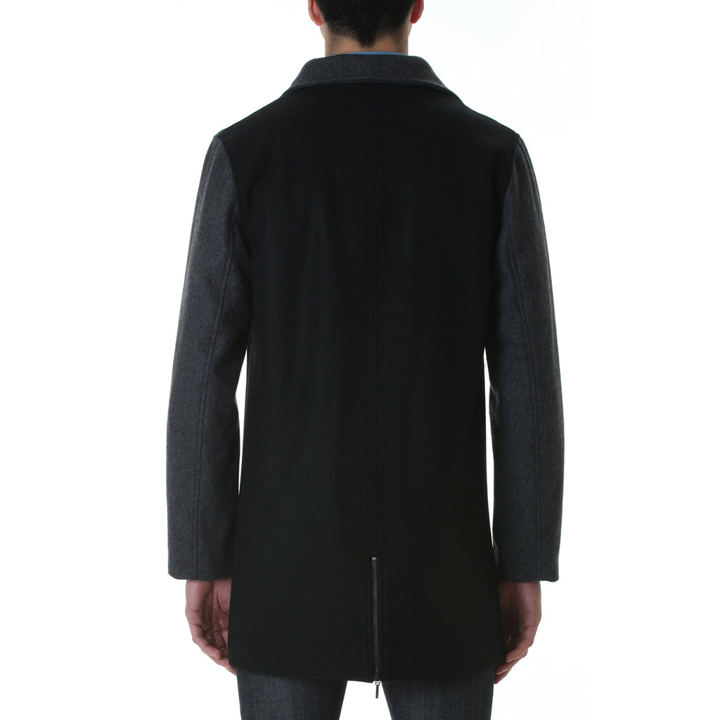 ASYMMETRIC ZIP FRONT WOOL COAT