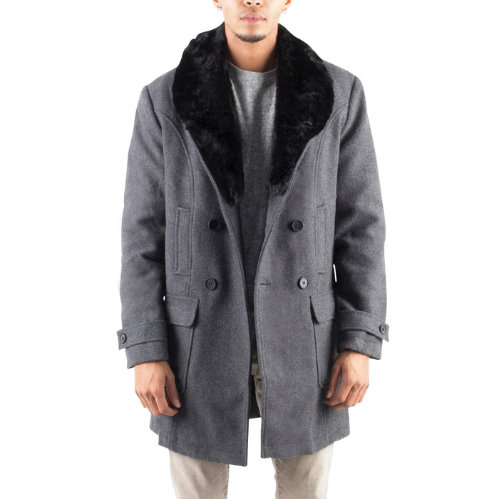 GREY WOOL COAT WITH REMOVABLE FAUX-FUR COLLAR - Standard Issue NYC
