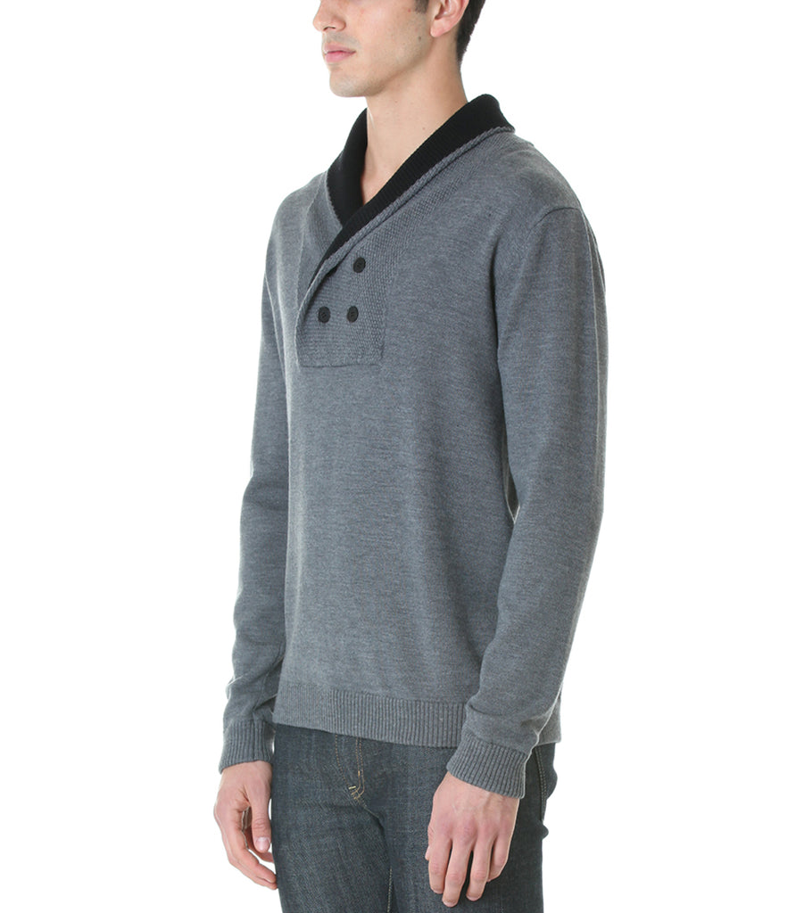 Shawl Collar Sweater - Grey