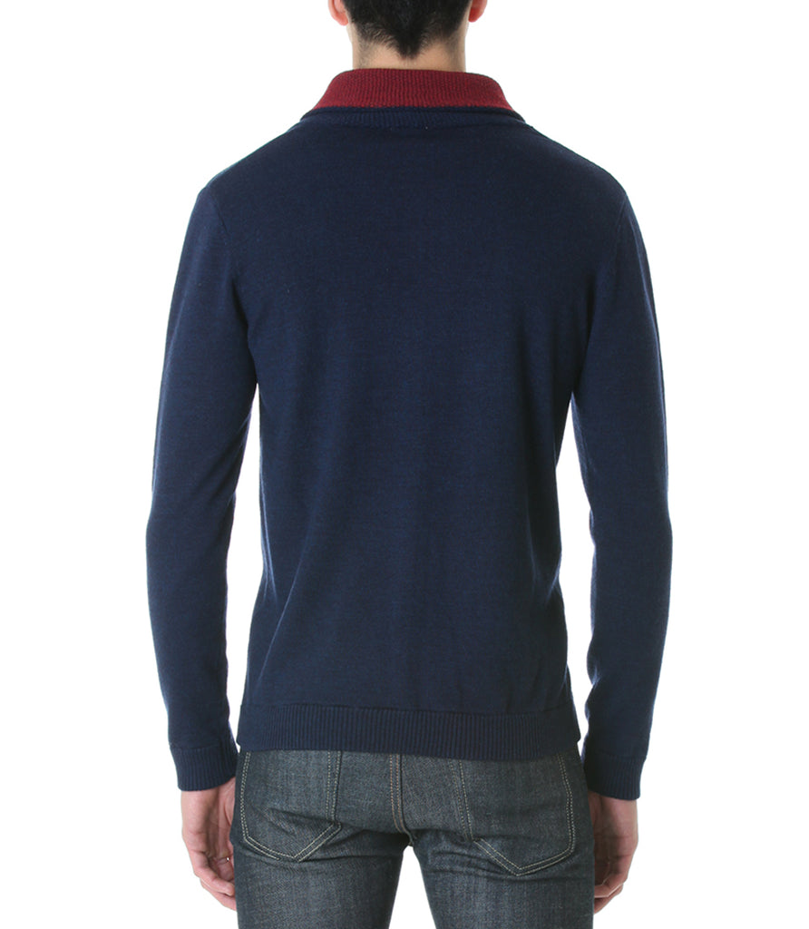 Shawl Collar Sweater - Navy