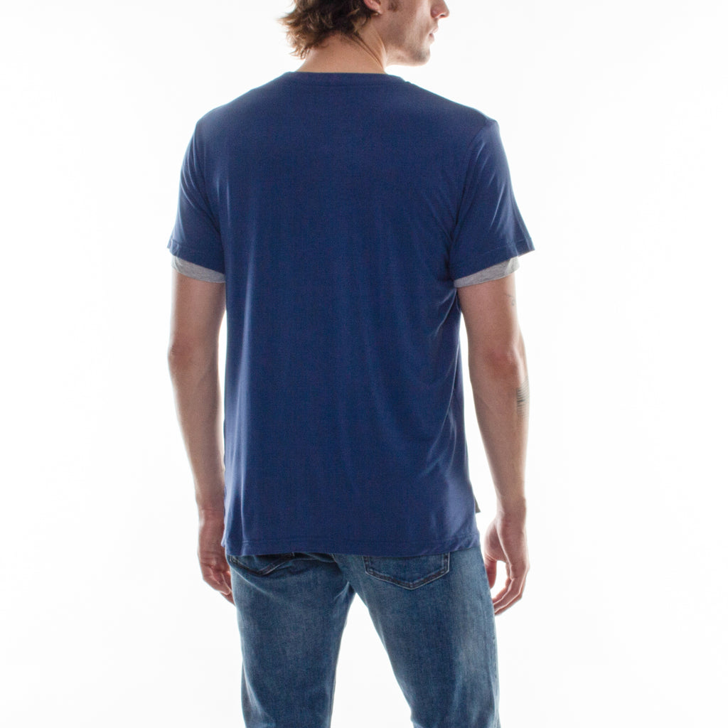 DOUBLE LAYER V-NECK TEE - NAVY/GREY - Standard Issue NYC
