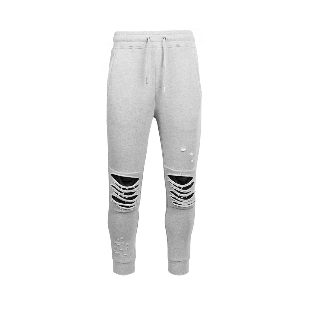 Destroyed Moto French Terry Jogger- Grey