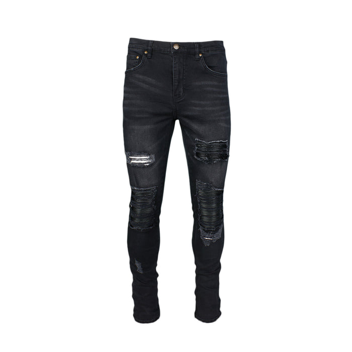 DESTROYED MOTO PATCH JEAN - BLACK - Standard Issue NYC